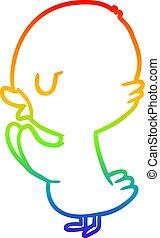 rainbow gradient line drawing cute duckling