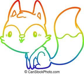 rainbow gradient line drawing cute fox