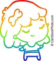 rainbow gradient line drawing cute happy girl