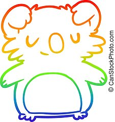 rainbow gradient line drawing cute koala
