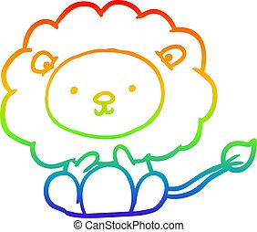 rainbow gradient line drawing cute lion