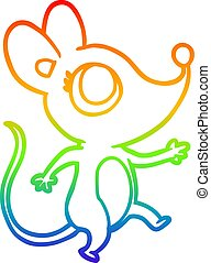 rainbow gradient line drawing cute mouse