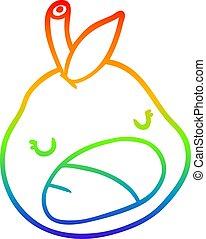 rainbow gradient line drawing cute pear