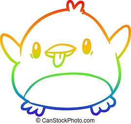 rainbow gradient line drawing cute penguin