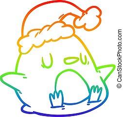 rainbow gradient line drawing cute penguin