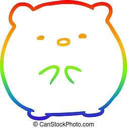rainbow gradient line drawing cute polar bear
