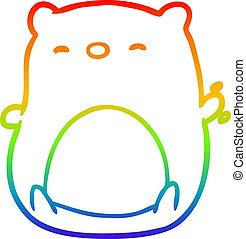 rainbow gradient line drawing cute polar bear