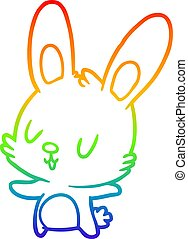 rainbow gradient line drawing cute rabbit