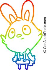 rainbow gradient line drawing cute rabbit shrugging shoulders