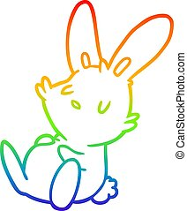 rainbow gradient line drawing cute rabbit sleeping