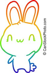 rainbow gradient line drawing cute rabbit waving