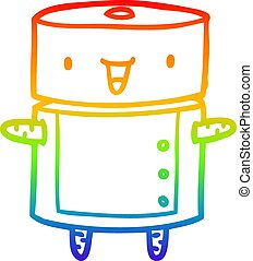 rainbow gradient line drawing cute robot