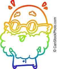 rainbow gradient line drawing cute surprised old man