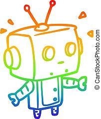 rainbow gradient line drawing cute surprised robot