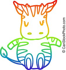 rainbow gradient line drawing cute zebra