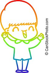 rainbow gradient line drawing happy cartoon boy