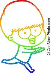 rainbow gradient line drawing happy cartoon boy running
