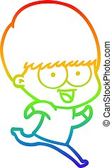 rainbow gradient line drawing happy cartoon boy running