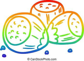rainbow gradient line drawing hazelnuts