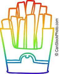 rainbow gradient line drawing junk food fries - rainbow...