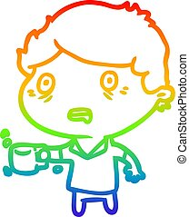 rainbow gradient line drawing man jittery from drinking too ...