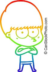 rainbow gradient line drawing nervous cartoon boy