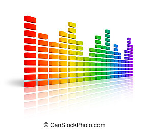 Rainbow graphic equalizer or spectrum analyzer isolated on ...