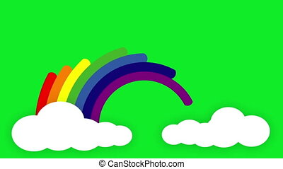 Animated rainbow - Rainbow is created as each colour beam emerge from one cloud and ends in a second cloud on a chroma key (green screen) background.