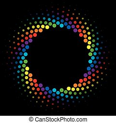 Rainbow Halftone swirl circle frame vector design element.