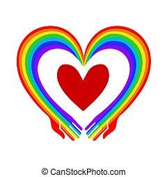 Rainbow hands with heart vector illustration. Metaphor of love