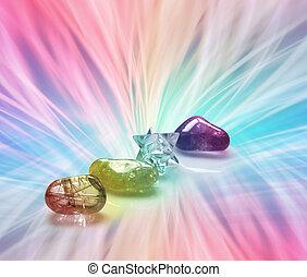 Rainbow Healing Crystals - Four Rainbow Healing Crystals on...