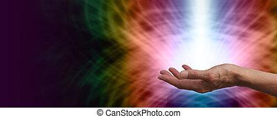 Rainbow healing energy - Female Healer with shaft of white...
