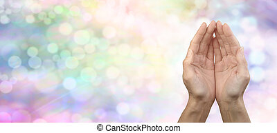Rainbow Healing Reiki Share Banner - Female cupped hands on...