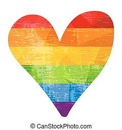 rainbow heart-04 - Grunge rainbow heart isolated on white...