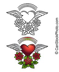 Rainbow, heart and floral ornament tattoo design