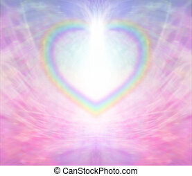 Rainbow Heart shape making a border on a radiating delicate pink background with a light burst at the top of the heart