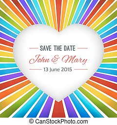 Rainbow heart background with Save the date. Vector...