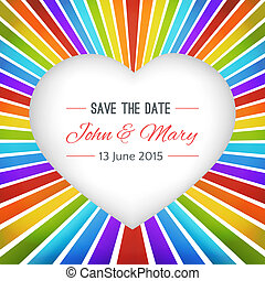 Rainbow heart background with Save the date. illustration...