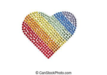 Rainbow heart made of Rhinestones