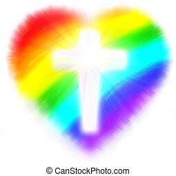 rainbow heart of love - a white cross inside a rainbow heart