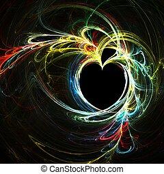 Rainbow heart - Fractal abstract of a rainbow heart