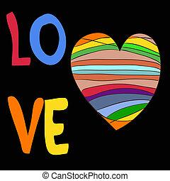 Rainbow heart with the inscription love