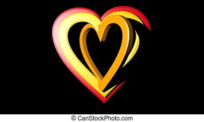 Rainbow hearts falling on black background. Seven hearts in different colors and sizes.
