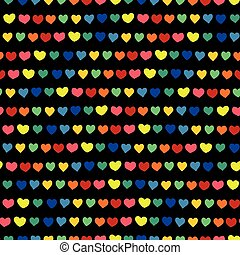 Rainbow hearts hand drawn on a black background. Vector seamless pattern. Blue, green, orange, yellow, pink, and red handmade hearts in a row. Line of hearts. Perfect for backgrounds, fabric, paper projects, wallpaper, packaging, and digital paper.