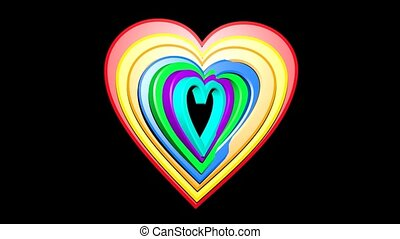 Rainbow hearts in group on black background. Seven hearts in different colors and sizes rotating in middle of canvas.