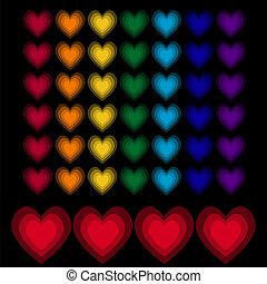 Rainbow hearts on black background
