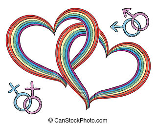 Rainbow hearts with gay symbols.Vector isolated on white -...