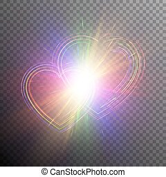 Rainbow hearts with light effects