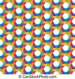 rainbow hexagon seamless pattern