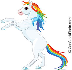 Rainbow horse - Rainbow mane and tail horse, reared up